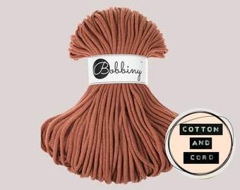 Bobbiny 5mm Terracotta Premium Cord  - 100% Recyled Cotton Cord | Rope | Macrame Cord | Yarn - Oeko-Tex Standard 100