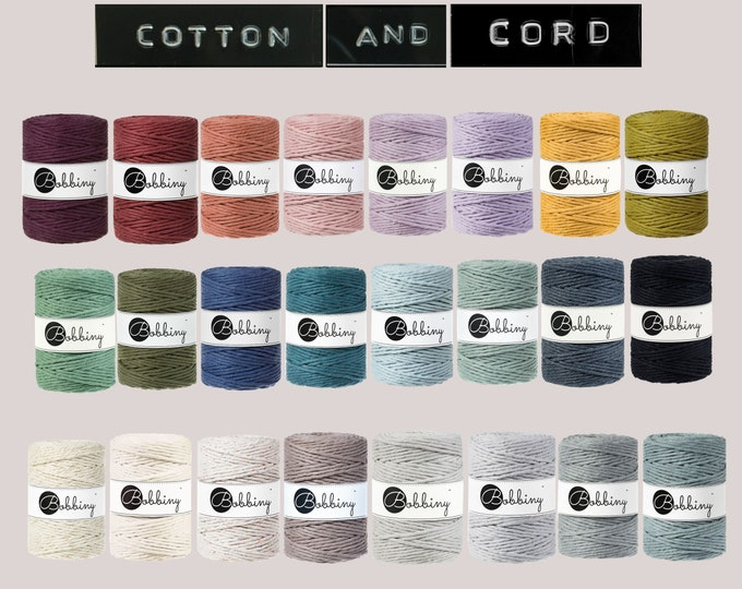 Bobbiny 5mm 100m Cotton Cord   Rope   Macramé Cord 100% recycled    Perfect for Fraying /  Fringing