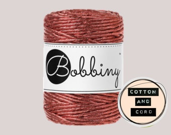 NEW **Copper** Bobbiny 3mm Regular Metallic Copper  - Single Twist Cord | Rope | Macrame Cord  Yarn - RECYCLED