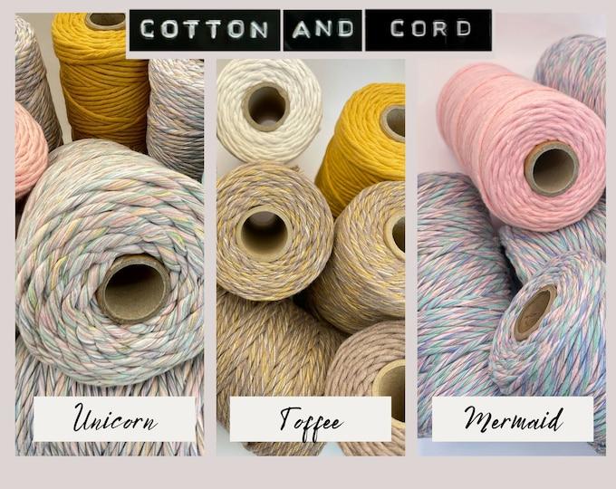 UNICORN | MERMAID | TOFFEE - Rainbow/Multicolored - 3-4mm & 5mm Premium Macrame Cord | 100m - Single Twist - 100% Recycled | Macrame Cord