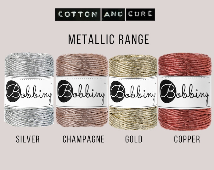 Bobbiny 3mm Regular Metallic Gold | Silver | Champagne | Copper - 50m Single Twist Cord | Rope | Macrame Cord  Yarn