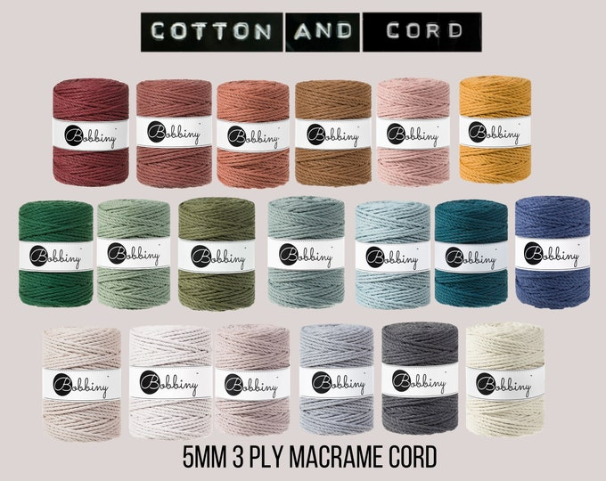 Bobbiny 5mm 3 PLY Rope | Macrame Cord -100% Recycled Cotton Cord | Rope | Macramé Cord | UK Stockist