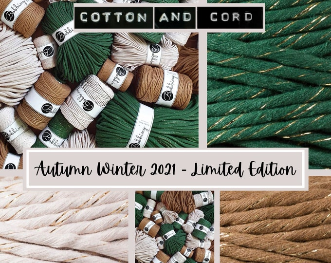 NEW - Bobbiny AUTUMN WINTER Limited Edition Golden Nude, Pine and Caramel  - 100% Recycled Cord | Macrame Cord Braided, Single Twist