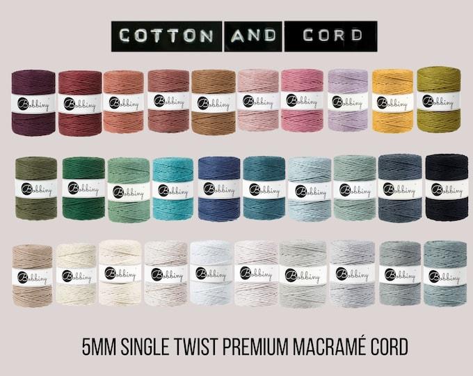 Bobbiny 5mm - NEW COLOURS - Nude, Pine Green, Caramel 100m Cotton Cord | Bobbiny Macrame Cord | Rope | Macramé |  100% Recycled Macrame Cord