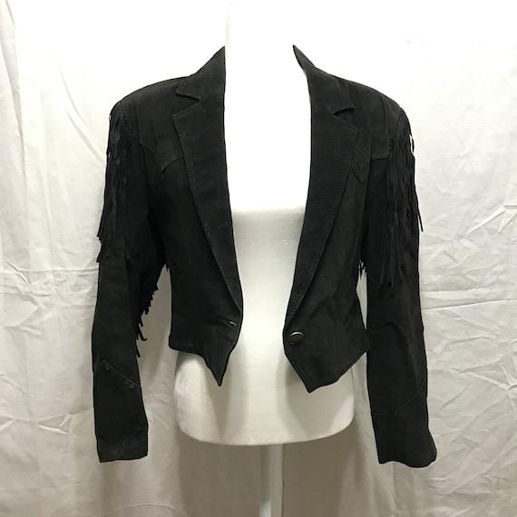 Vintage Pioneer Wear Black Suede Fringe Cropped We