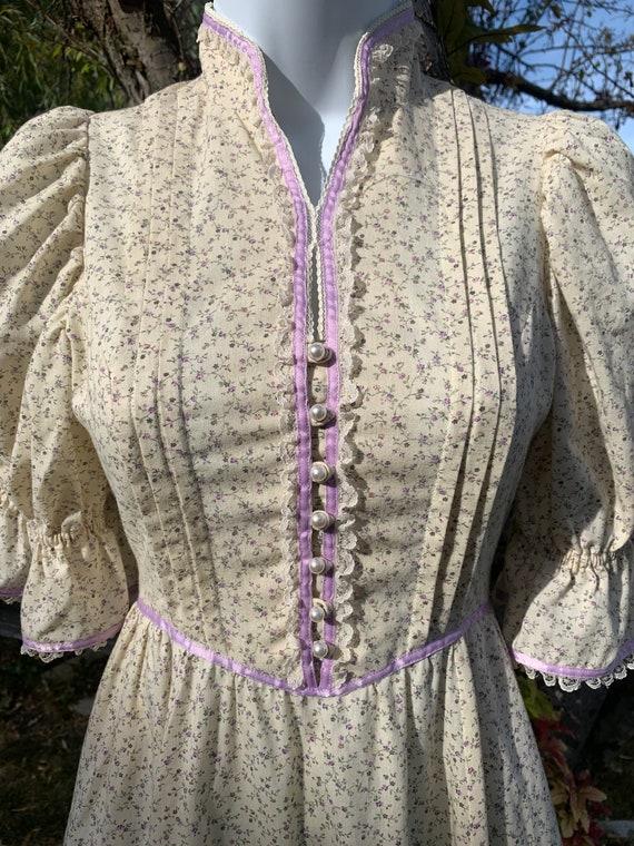 70s Prairie Gunne Sax Style Ivory Dress - image 2