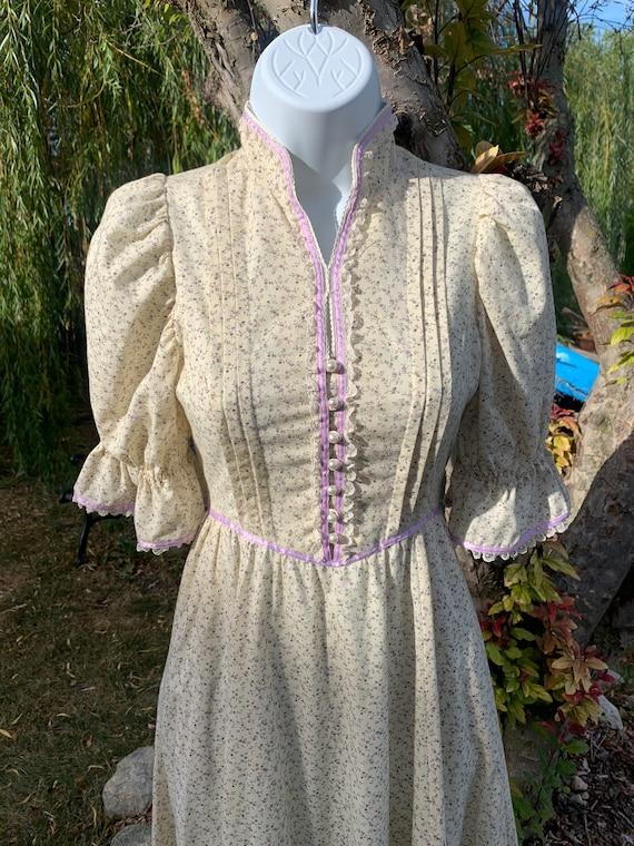 70s Prairie Gunne Sax Style Ivory Dress - image 3