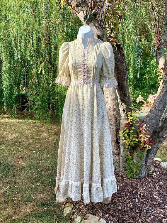 70s Prairie Gunne Sax Style Ivory Dress