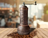 Antique Coffee Grinder, Refillable Turkish Style Mill with Qualification Adjustable Grinder, Manual Coffee Mill with Handle