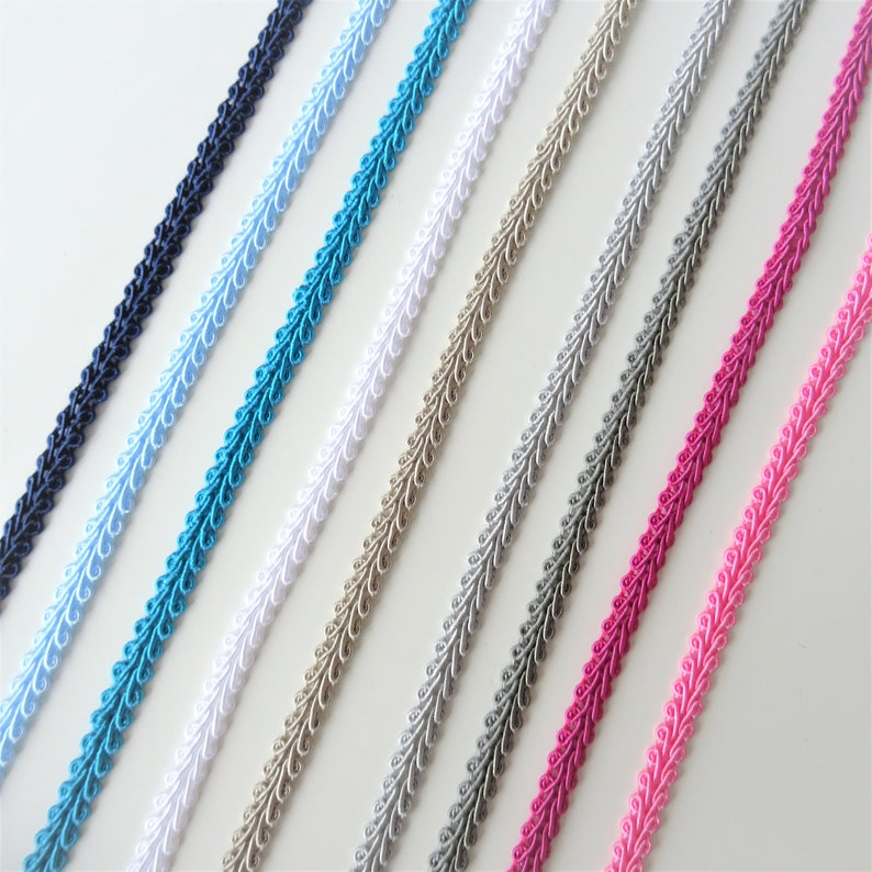 Sold by the Meter Craft Supplies Upholstery Trim Dressmaking Braid 6mm Gimp Braid in Assorted Colours Scrolled Gimp Braid