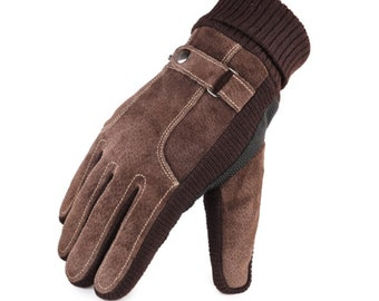 Leather gloves men plus velvet thick brown black warm winter gloves men and women gloves outdoor windproof gloves