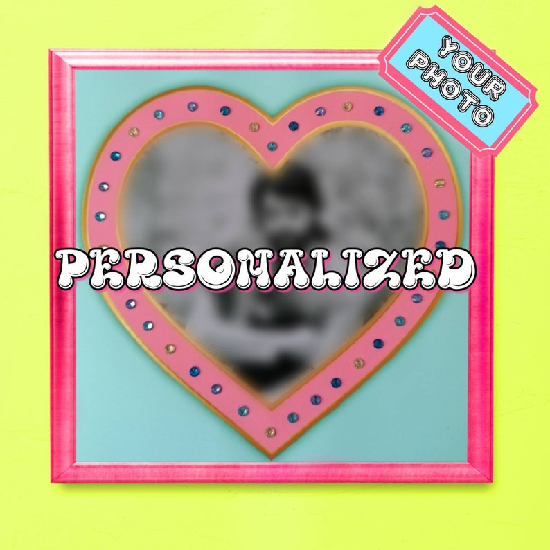 Personalized Bedazzled Couple Poster with Hotfix Rhinestones and Diamantes Custom Bedazzled Heart Poster