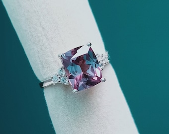 Lab Created Alexandrite ring,925 Sterling Silver alexandrite ring lab grown alexandrite ring Lab Alexandrite color changing gemstones ring