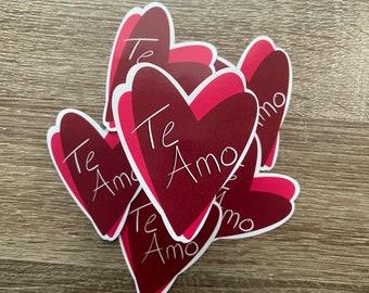 Te Amo   Water Resistant Glossy Die Cut Stickers  