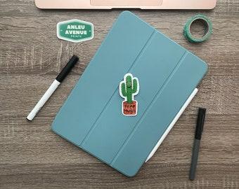 Free Hugs Cactus   Water Resistant Glossy Die Cut Sticker  