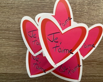 Je t'aime   Water Resistant Glossy Die Cut Stickers  