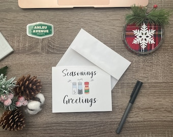 Seasonings Greetings | Blank A2 Size Greeting Card | Holiday Inspired Design