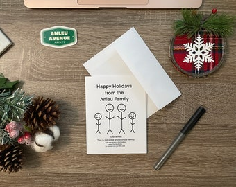 Personalized Stick Family Holiday Greeting Card | Blank A2 Size Greeting Card | Holiday Inspired Design