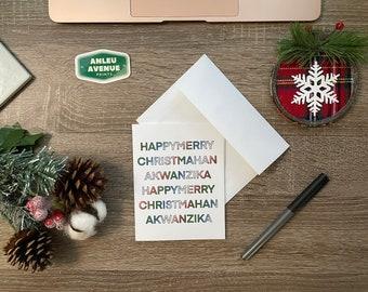 Christmahanakwanzika Greeting Card | Blank A2 Size Greeting Card | Holiday Inspired Design