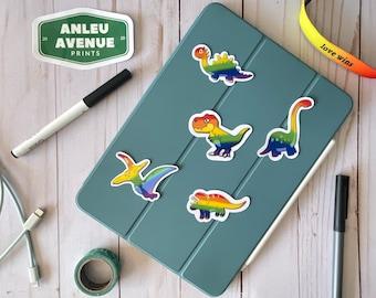 Pride Flag Dinosaur Collection   Water Resistant Glossy Die Cut Stickers   Pride Inspired Designs