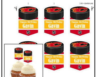 Hockey Puck cut and glue to a stick Calgary Flames Cupcake Toppers DIY Favors Just print Personalized Name PNG File