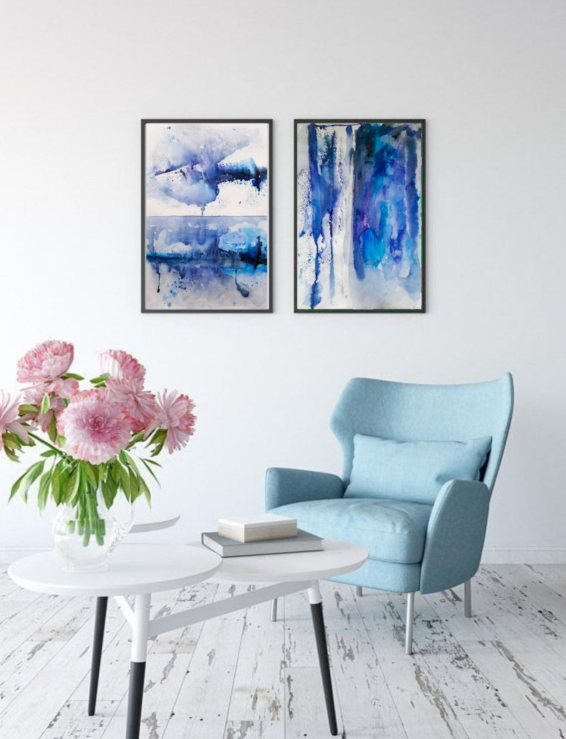 Digital Original painting drawing on paper with watercolors Minimalism Abstraction Winter Forest Field Spots Print Boho Wall Decor
