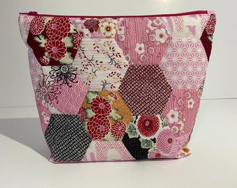 Quilted patchwork zipper bag