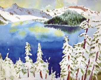 8-pack Oregon Greeting Card Watercolor Crater Lake in the Snow with Envelopes