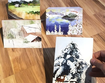 2-of-each (8 total) Oregon Greeting Cards Watercolor with Envelopes