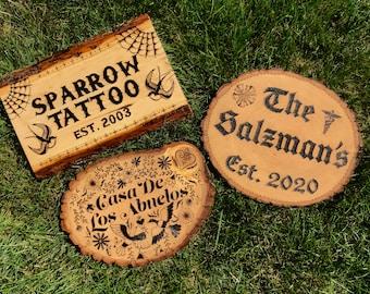 Custom Wood Burnt Signs