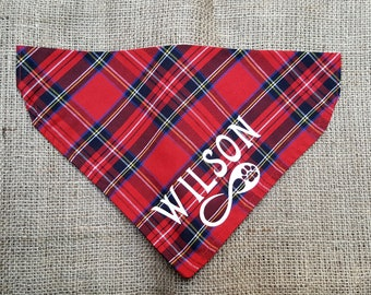 Dog Bandana Tartan handkerchief style to tie around your pet\u2019s neck scottish plaid Tartan pattern bandana Psiakrew red