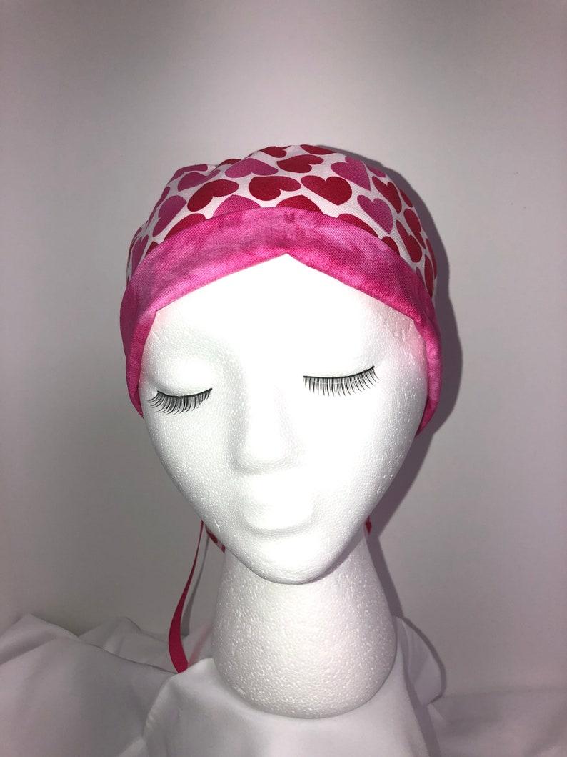Ladies Valentine surgical scrub hat cap with ponytail