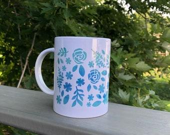 Coffee Mug | White Coffee Mug | Mug with Florals | Floral Coffee Mug