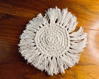 Handmade Macrame Coaster | Round Fringe Boho Cream Coaster