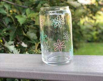 Iced Coffee Glass | Beer Can Glass | Clear Coffee Glass | Flower Coffee Glass