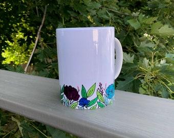 Coffee Mug | White Coffee Mug | Mug with Flowers | Coffee Mug with Flowers