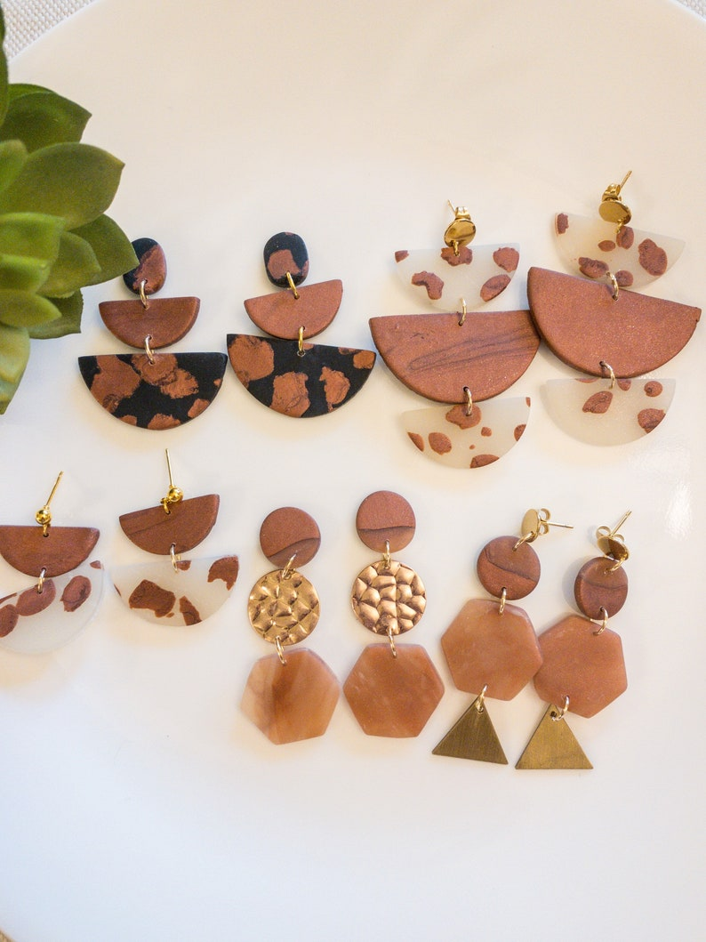 cow print gifts for her rust brown earrings boho western style Transparent copper bronze polymer clay earrings