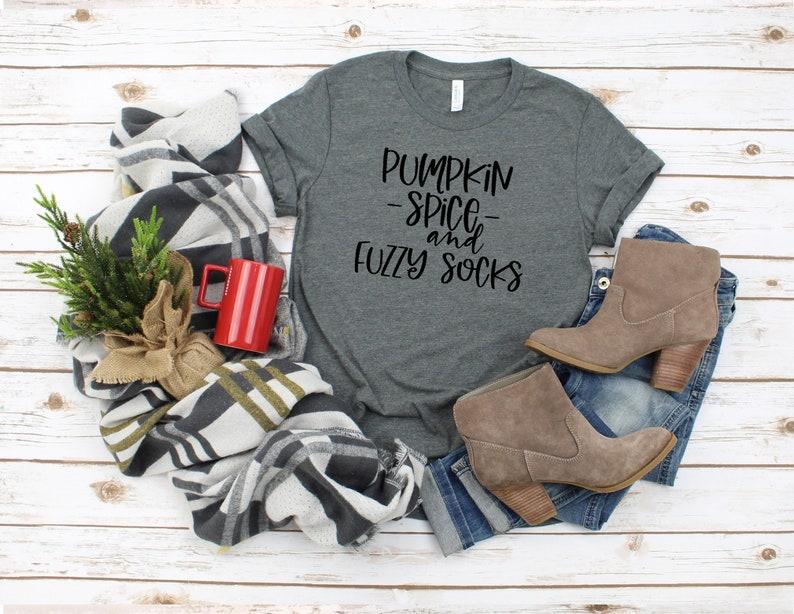 Pumpkin spice and fuzzy socks women\u2019s Fall graphic t-shirt