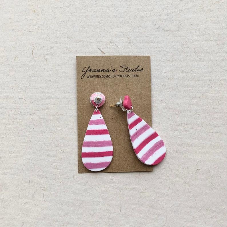 Love Earrings Colorful Earrings Heart Earrings Stripe Earrings Valentines Drop Earrings Valentine Earrings Clay Earrings Gift for her