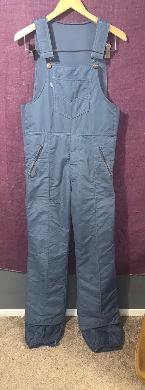 70's Vintage Levi's Blue Gray Snowsuit Overalls