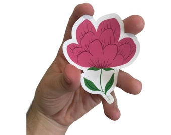 Magenta Rose Waterproof Sticker, Flower Floral Stickers for Hydroflask, Planners, and Laptop