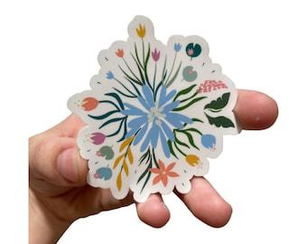 Blue Sunflower Daisy Flower Arrangement Waterproof Sticker, Flower Floral Sticker for Planners, Hydroflask, and Laptop