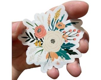 Peony Rose Spring Flowers Arrangement Waterproof Sticker, Flower Floral Stickers for Hydroflask, Planners, and Laptop, Garden Flower Sticker
