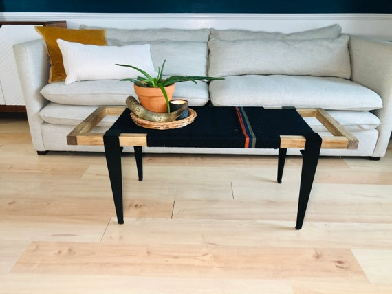 Mid Century Modern Style Bench • Modern Entryway Bench • End of Bed Handmade Stool • Minimalist Decor • Boho Woven Bench