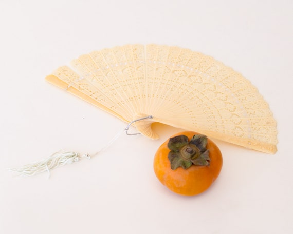 Vintage 1950s Fan: Cream Japanese Celluloid with T