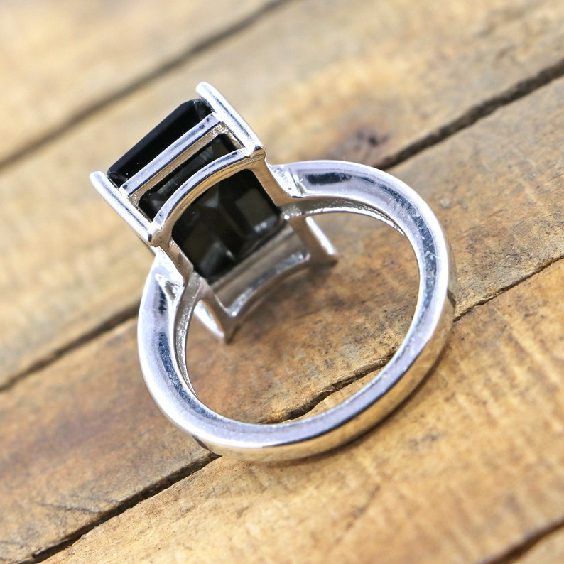 Amazing 925 Sterling Silver Ring Of Black Onyx 10*14 Octagon Shape Black Onyx Ring Statement Ring Virgo Birthstone Ring A Perfect Gift