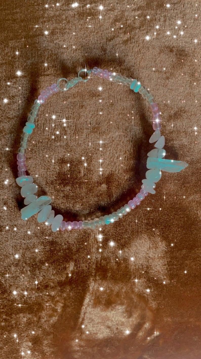 Adore Rose Quartz Crystal beaded anklet