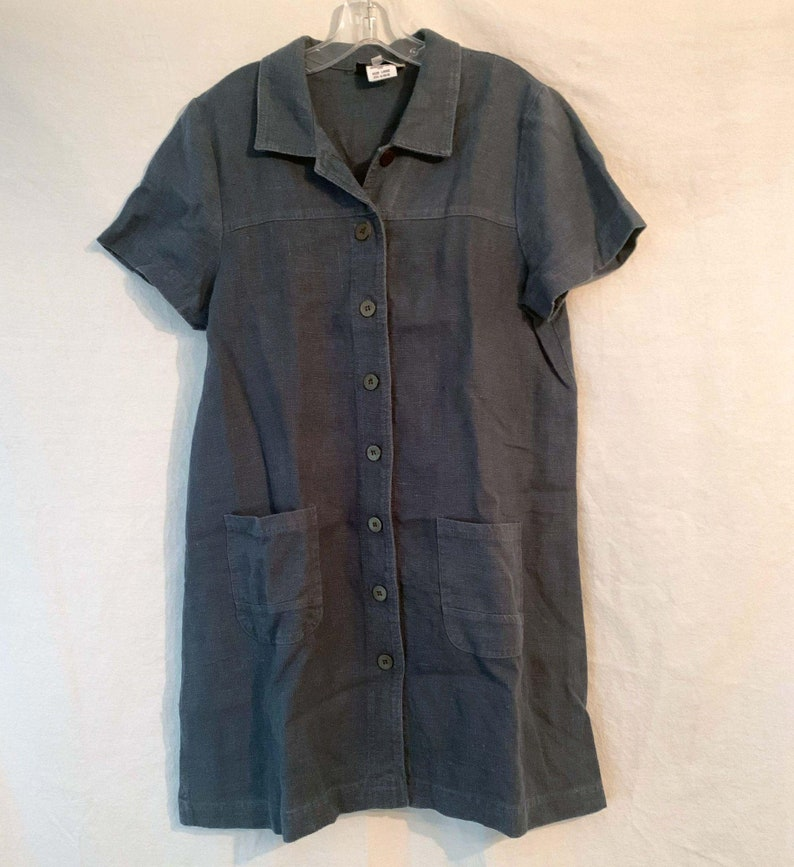 Large Vintage Denim Stonebridge Button Up Midi Dress