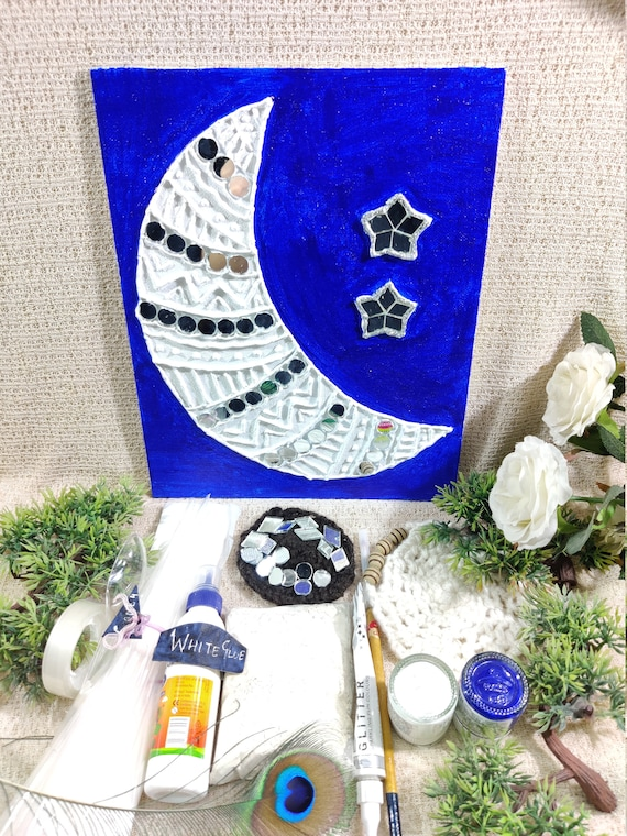 Texture wall art kit DIY Crescent Moon Stars craft kit Holiday winter gift Simple fun mirror mosaic clay kit with all supplies included