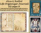 Alice Rabbit in Wonderland Digital Journal Planner, Notebook, Study, Reading, Fitness,Shopping, Finance planner, Dating, Life Tracker